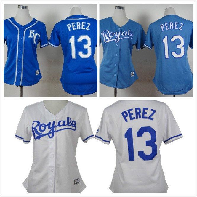 Womens Salvador Perez Kansas City Royals #13  Replica Baseball Jersey Multiple styles