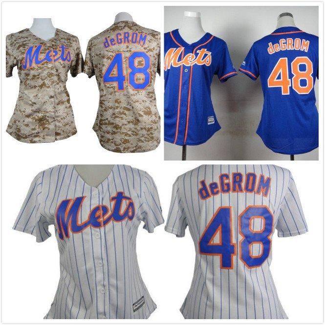 Womens Jacob deGrom New York Mets #48 Replica Baseball Jersey Multiple styles