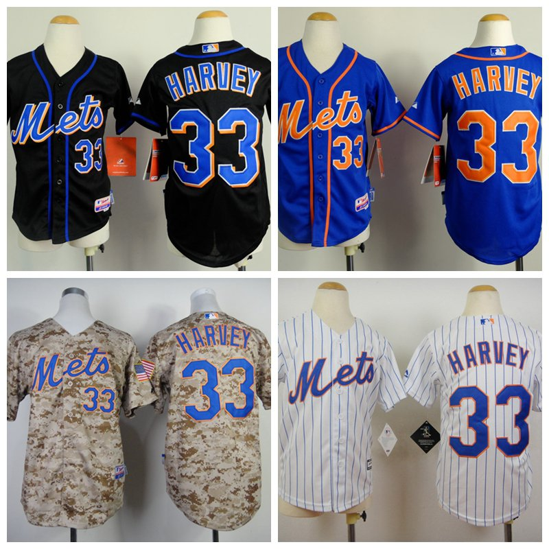 YOUTH Matt Harvey 2015 New York Mets #33 Replica Baseball Jersey Multiple styles