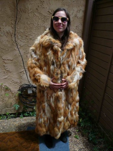 Large Full Length Red Fox Fur Coat (#70)