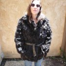 Belted Black Rabbit Fur Coat (#95)