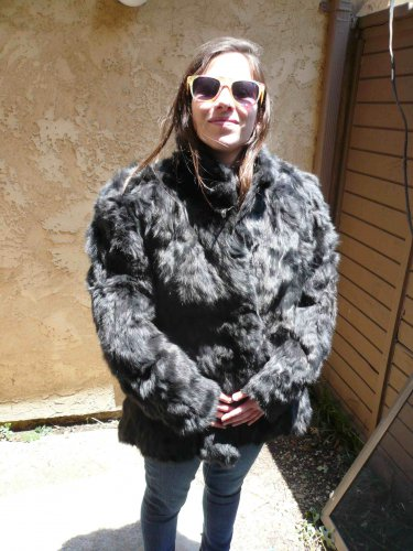 Black Rabbit Fur Jacket (#106)
