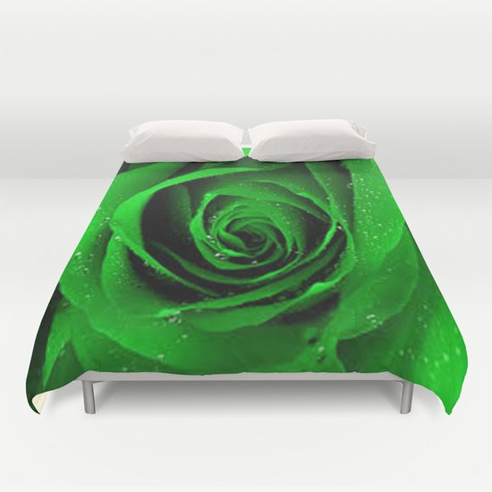 BEAUTIFUL GREEN ROSE DUVET COVERS for KING SIZE 1Qk7lmd