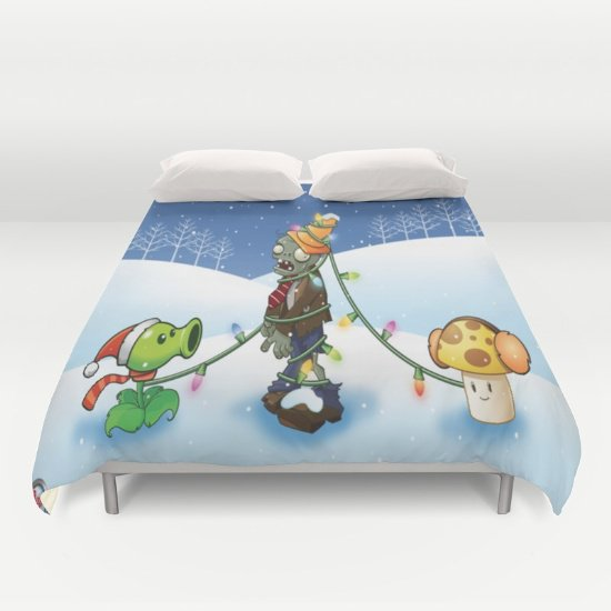 Zombie vs Plant Christmas DUVET COVERS for KING SIZE 2g5hHeb