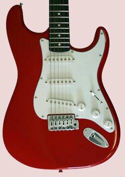 "FENDER GUITAR w/Case RED 39"" FENDER ELECTRIC GUITAR"