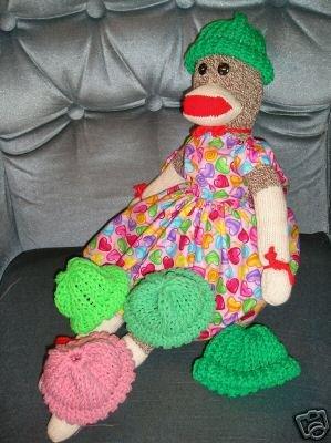 Just  Green Sock Monkey knit hat cap NEW Handmade