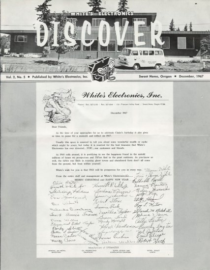 Discover Newsletter- White's Electronics December 1967