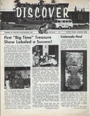 Discover Newsletter- White's Electronics September 1971