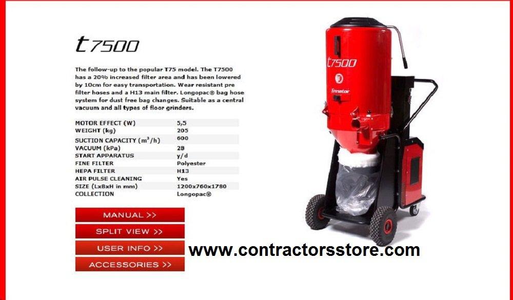 Concrete Dust Extractor HEPA Vacuum w/ Distribution Box 100 AMP- 230V