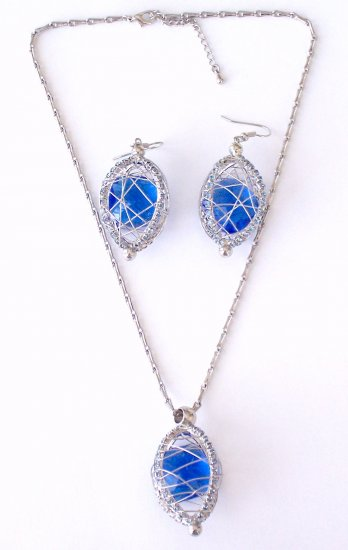 FLOATING CREATED SAPPHIRE NECKLACE AND EARRING SET BY SCHANDRA JEWELRY