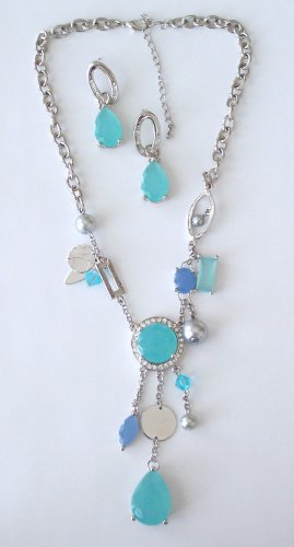 SWAROVSKI CRYSTAL AND FACETED STONE NECKLACE AND EARRING SET BY SCHANDRA JEWELRY