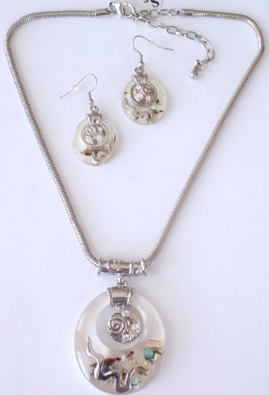 Swarovski Crystal and Abalone necklace and earring set BY SCHANDRA JEWELRY