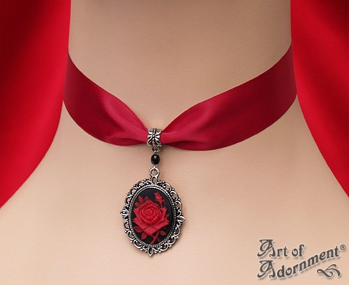 Victorian Gothic Black Red Rose Cameo Satin Choker Silver Pendant Necklace C76