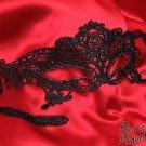 Black Gothic Venetian Lace Costume Mask Crystal Rhinestone Venice Halloween F19
