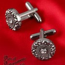 Victorian Crystal Rhinestone Cufflinks Antique Silver Wedding Cuff Links P21