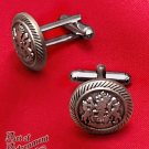 Steampunk Victorian Military Crest Cufflinks Mens Heraldry Antique Silver P14