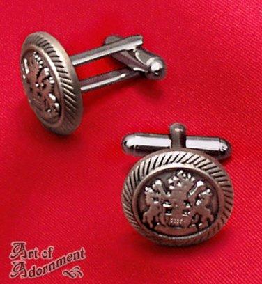 Steampunk Victorian Military Crest Cufflinks Mens Heraldry Antique Silver P14