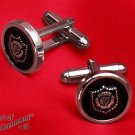 Gothic Black Thistle Crest Cufflinks Antique Silver Victorian Military Style P45