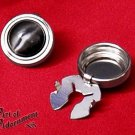 2x Gothic Silver Cuff Button Covers Black Cat's Eye Mens Mandarin Collar P07