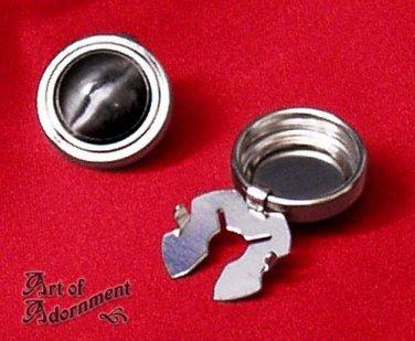 2x Gothic Silver Cuff Button Covers Black Cat's Eye Mens Mandarin Collar P07