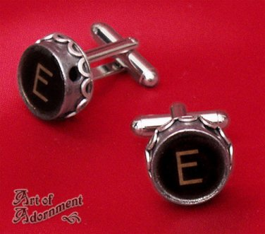 Steampunk Initial Monogram Vintage Typewriter Key Cufflinks Brown Black Silver K,N,V,Z