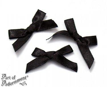 12pcs Black Fabric SATIN RIBBON BOW APPLIQUES 35mm Sew-On Bow Craft Applique