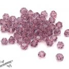 50pcs Amethyst Purple CRYSTAL BICONE BEADS 4mm Faceted Glass Diamond Rondelle