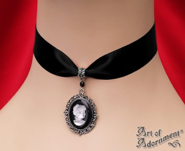 Gothic Victorian Cameo Black Satin Choker Necklace Frosted White Silver Pendant C67