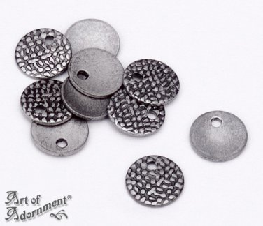 30pcs Antique Silver Oxidized SIGNATURE TAGS TABS 7mm Plated Charms Chain Ends Round