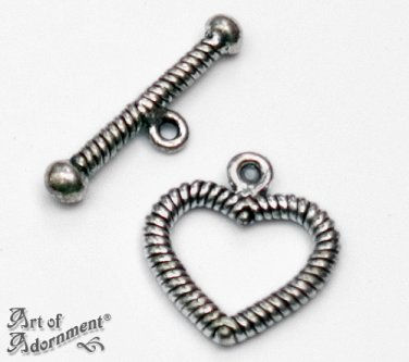 Antique Silver HEART BRACELET TOGGLE CLASP SET 17mm Pewter Love Valentine's Day