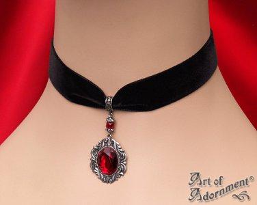 Victorian Gothic Red Crystal Silver Pendant Black Velvet Choker Necklace C29