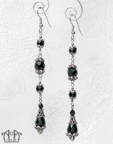 1920s Flapper Long Black Glass Teardrop Drop Earrings Antique Silver Gothic E30