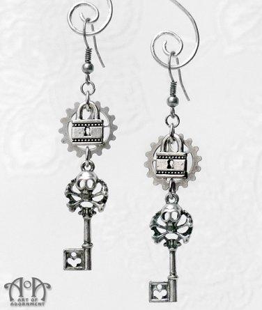 Steampunk Gothic Skeleton Key Lock Earrings Silver Skull Filigree Gears Keys E54