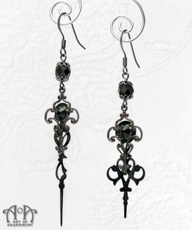 Steampunk Gothic Black Crystal Clock Hand Earrings Gunmetal Filigree Hands E39