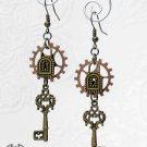 Steampunk Antique Brass Skeleton Key Earrings Copper Gears Bronze Locks Keys E55