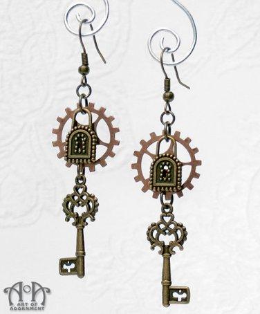 Steampunk Antique Brass Skeleton Key Earrings Copper Gears Bronze Locks Keys E55