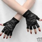 Gothic Black Stretch Lace Half-Finger Gloves Fingerless Wrist Length Steampunk G04