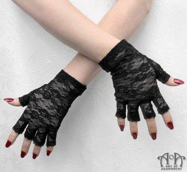Gothic Black Stretch Lace Half-Finger Gloves Fingerless Wrist Length Steampunk G04
