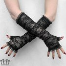 Gothic Black Stretch Lace Fingerless Gloves Elbow Length Steampunk Burlesque G23
