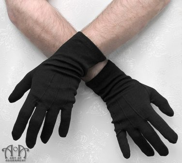 Gothic Mens Formal Black Evening Gloves Long Wrist Wedding Military Costume G07