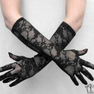 Gothic Long Black Stretch Lace Evening Gloves Elbow Length Steampunk Opera G02