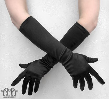 Gothic Long Black Satin Evening Gloves Costume Elbow Length Formal Burlesque G16