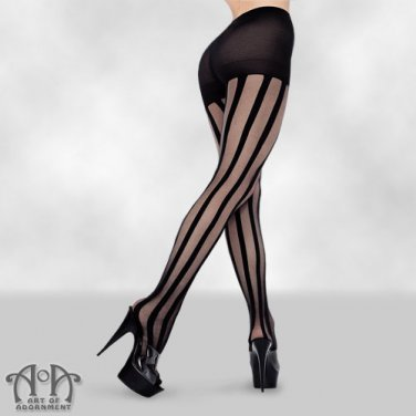 Black Sheer Vertical Striped Tights Pantyhose Gothic Cabaret Steampunk S05