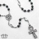 Gothic Pagan Pentacle Ankh Rosary Necklace Gunmetal Black Hematite Elemental D74
