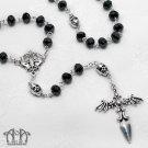 Gothic Cross Vampire Rosary Necklace Skull Bat Winged Dagger Black Crystal D67