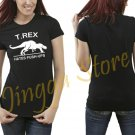 T Rex Hates Push Ups Women's Black T Shirt