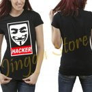 Anonymous Hacker Obey Style Women's Black T Shirt