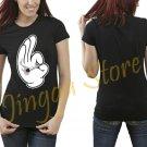 Cartoon Hands smoking Joint T-SHIRT blunt Women's Black T Shirt