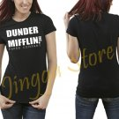 Dunder Mifflin PAPER The Office Funny SCHRUTE Women's Black T Shirt