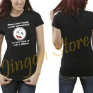 Funny Smile Women's Black T Shirt